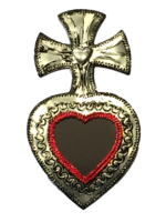 Image Tin Sacred Heart with Mirror, Large, (E)