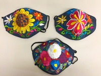 Image Mexican Face Mask, Floral Designs on Denim