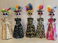 Image Elegant Paper Mache Catrina with Feathers