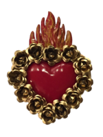 Image Sacred Heart with Gold Roses