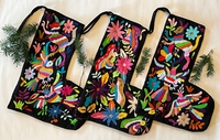 Image Otomi Stocking, Hand Stitching on Black