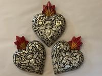 Image Sacred Heart with Milagros, Black, Extra Large