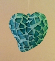 Image Teal Mosaic Heart Ornament