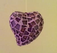 Image Lilac Mosaic Heart Ornament